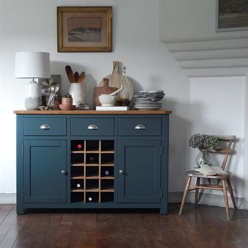 Westcote Blue Sideboard with Oak Wine Rack