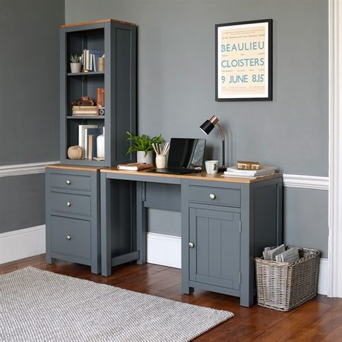 Chalford Charcoal Painted Desk With Bookcase And Fil...