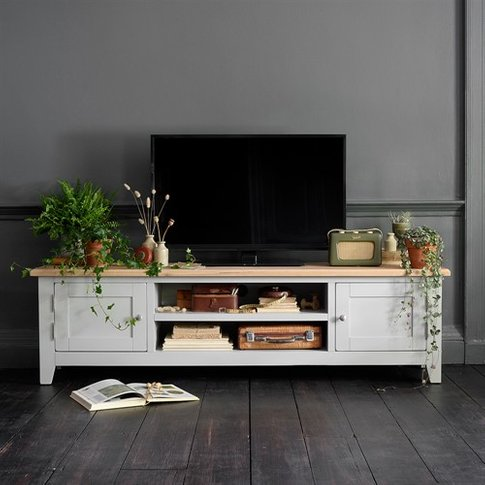 """Chester Grey Low Wide Tv Unit - Up To 80"""""""
