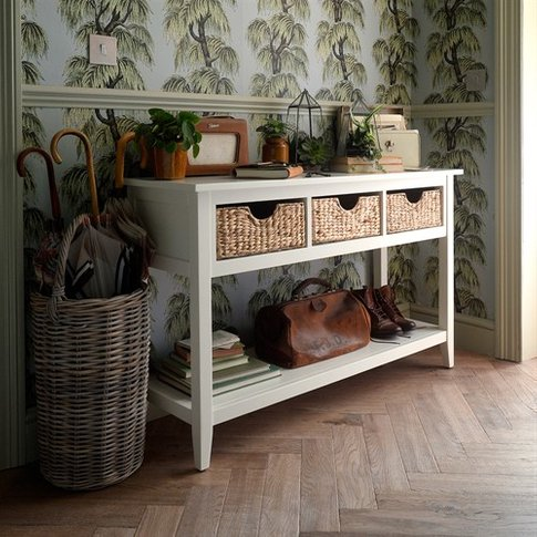 Farmhouse Painted Console Table - Ivory