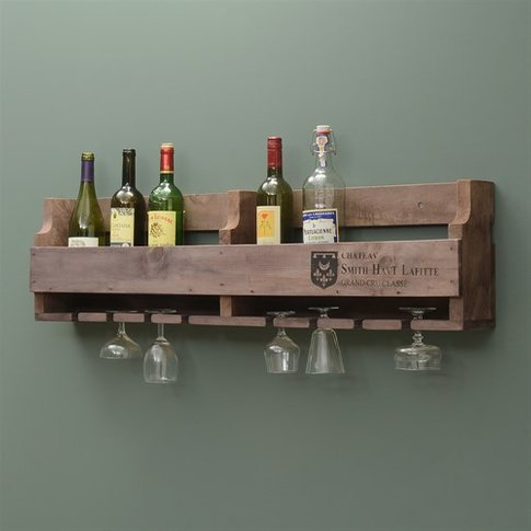 Rustic Wall Wine Rack for 10 Bottles and 8 Glasses
