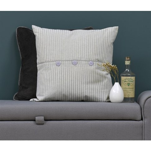 Harvey Stripe Buttoned Cushion - Dove Grey