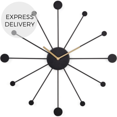 Sputnik Large Wall Clock, Black