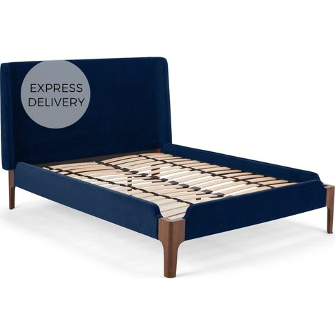 Roscoe Double Bed, Royal Blue Velvet