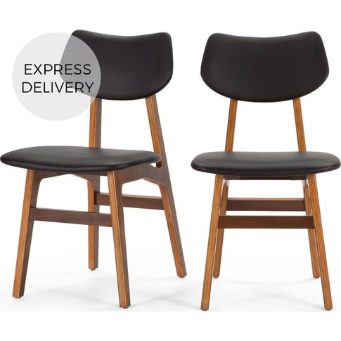 Set Of 2 Jacob Dining Chairs, Coal Black And Walnut