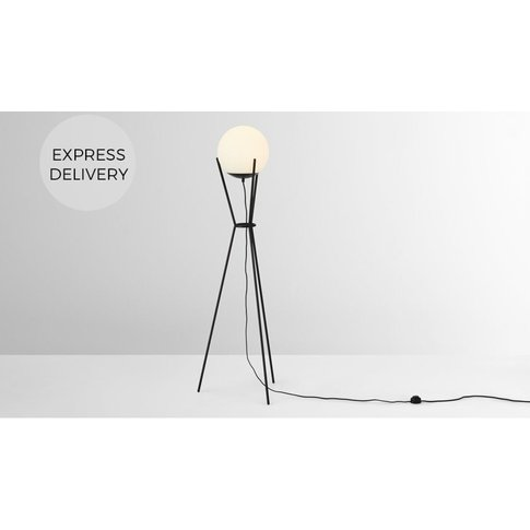 Quinten Tripod Large Ball Floor Lamp, Black And Opal