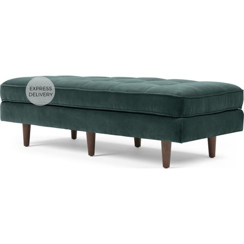 Scott Ottoman Bench, Petrol Cotton Velvet