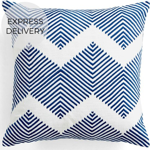 Ryker Embroidered Cushion 45 x 45 cm, Blue