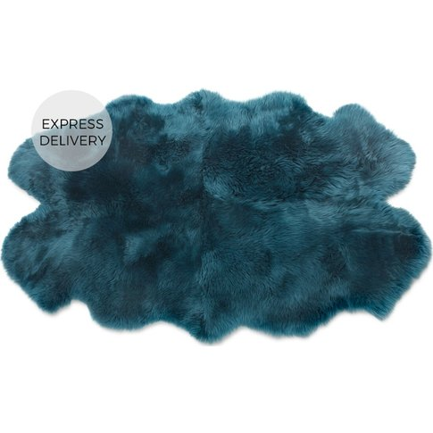 Helgar Large Quad Sheepskin Rug 105 X 170cm, Dark Teal