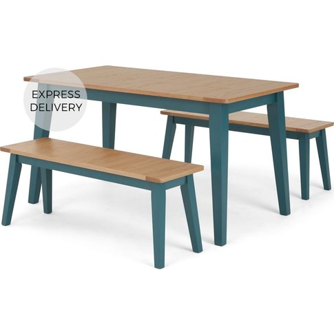 Ralph 4 Seat Compact Dining Bench Set, Oak And Teal