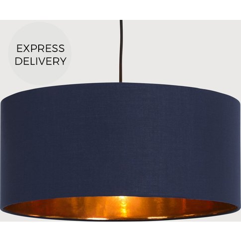 Oro Pendant Drum Lamp Shade, Navy and  Copper