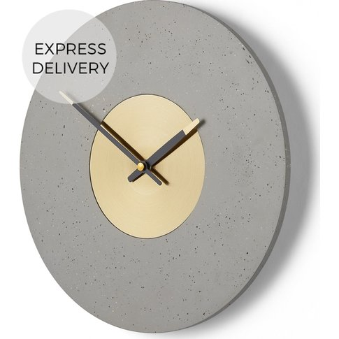 Birgen Wall Clock, Grey And Brass
