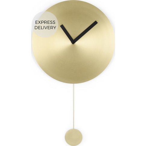 Sunny Large Pendulum Wall Clock 47cm, Brushed Brass