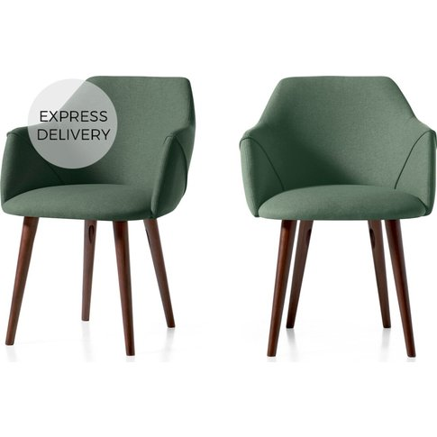 Set of 2 Lule Carver Dining Chairs, Bay Green and Wa...