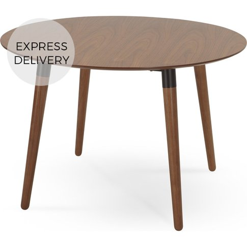 Edelweiss 4 Seat Round Dining Table, Walnut And Black
