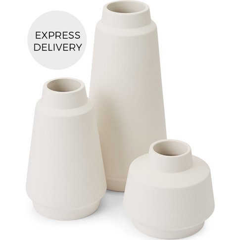 Hoa Set Of 3 Ceramic Vases, Matt White