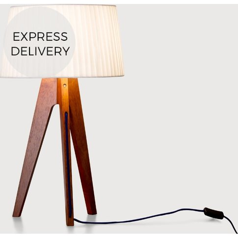 Miller Table Lamp, Walnut And Navy