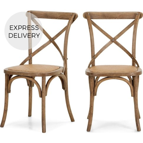 Set Of 2 Rochelle Dining Chairs, Oak