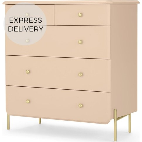 Maddie Chest Of Drawers, Pink And Brass