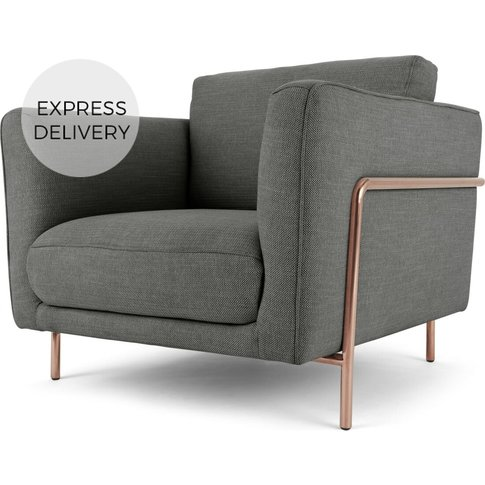 Everson Armchair, Shuttle Grey With Copper Leg