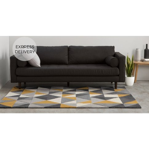 Henrik Hand Tufted Wool Small Rug 120 X 180cm, Mustard And Grey