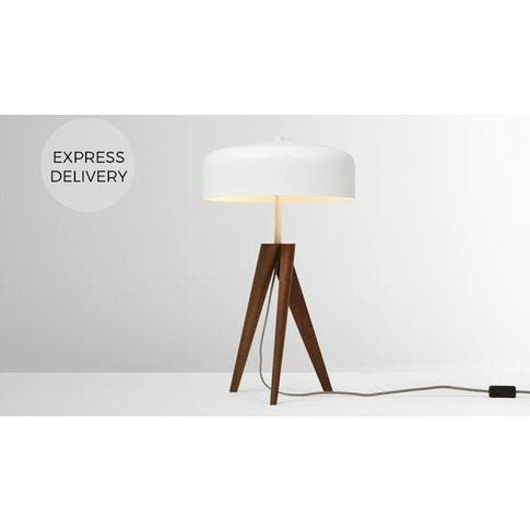 Madison Table Lamp, Dark Wood And White