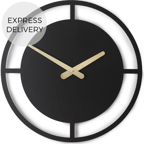 Croesi Large 50 Cm Wall Clock, Matt Black