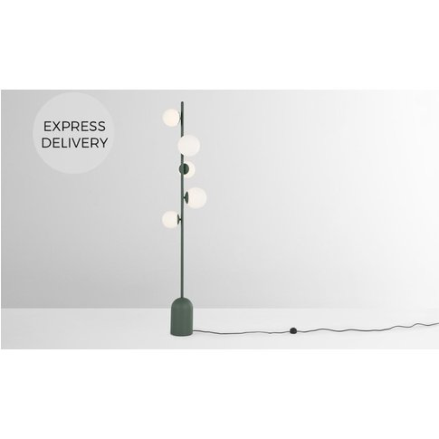 Vetro Floor Lamp, Peacock Green And Opal Glass