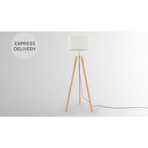 Irvin Tripod Floor Lamp, Natural Wood And White