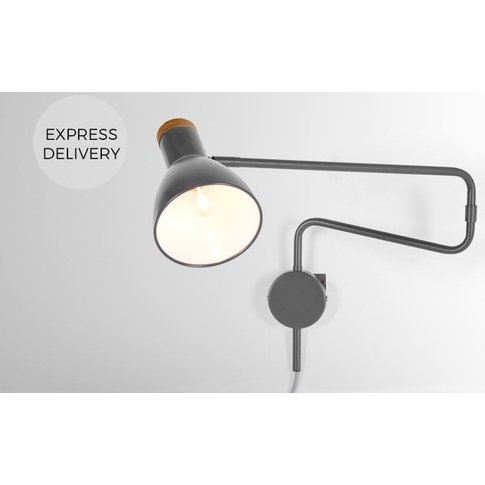 Cohen Swing Arm Wall Lamp, Charcoal