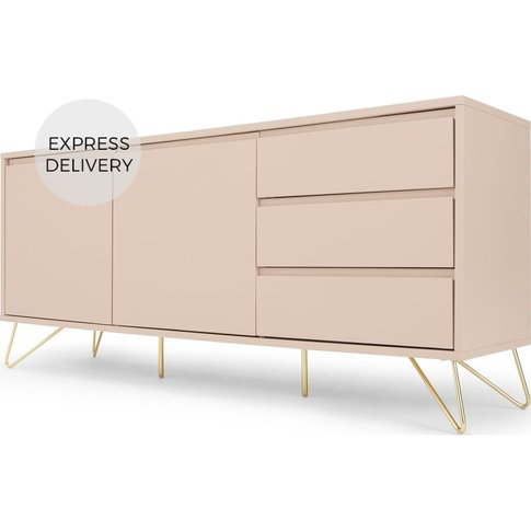 Elona Sideboard, Pink And Brass