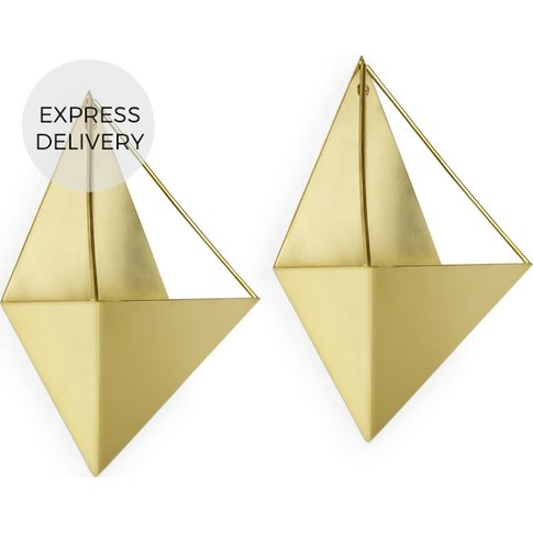 Mallee Set Of Two Pyramid Wall Planters, Brass