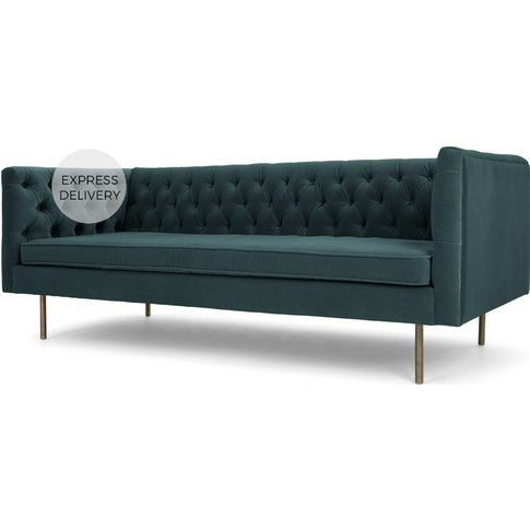 Julianne 3 Seater Sofa, Petrol Cotton Velvet
