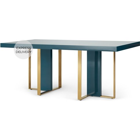 Arpen 6 Seat Dining Table, Teal and Brass