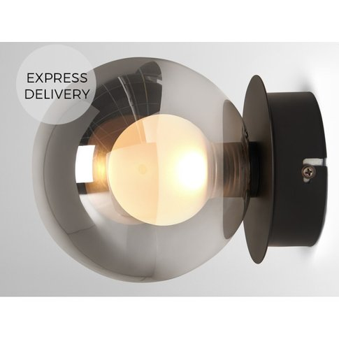 Masako Led Wall Lamp, Smoked And Frosted Glass