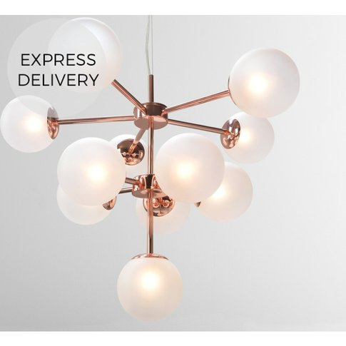 Globe Chandelier, Copper And  Frosted Glass