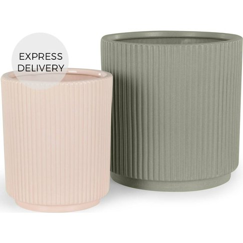 Palm Set Of Two Earthenware Planters, Pink & Sage Grey