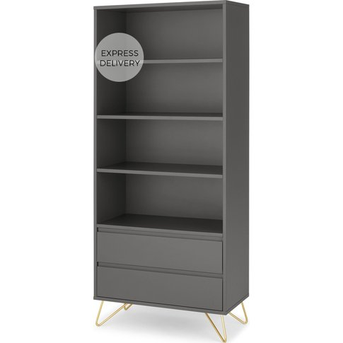Elona Bookcase, Charcoal And Brass