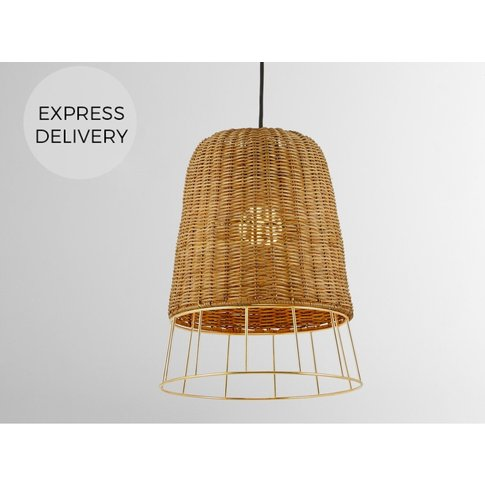 Palma Pendant Shade, Natural Rattan And Brass