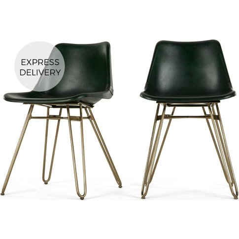 Set Of 2 Kendal Dining Chairs, Green And Brass