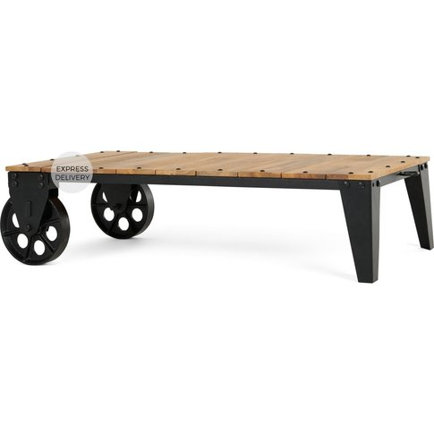 Humphrey Industrial Coffee Table, Wood And Antique G...