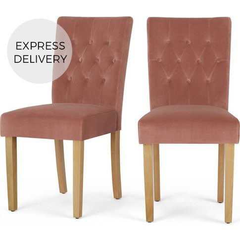 Set Of 2 Flynn Dining Chairs, Blush Pink Velvet And ...