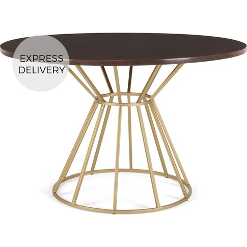 Khalida 4 Seat Round Dining Table, Dark Mango Wood a...