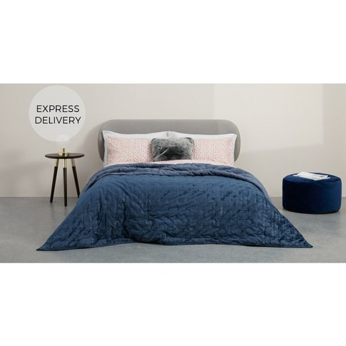 Tabitha Distressed Velvet Quilted Bedspread 225x220c...