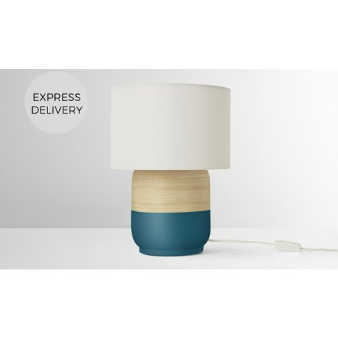 Todd Table Lamp, Teal & Bamboo