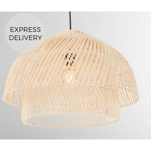 Java Layered Pendant Lamp Shade, Rattan
