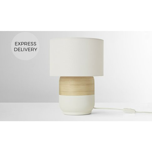 Todd Table Lamp, White & Bamboo