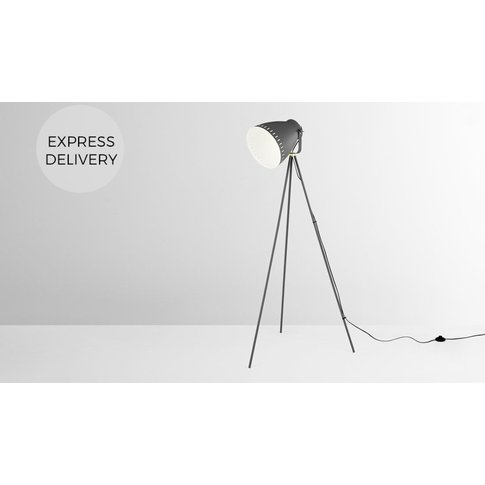 Barton Tripod Floor Lamp, Charcoal Grey & Brass