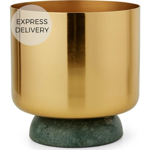 Serotta Metal And Marble Planter, Brass