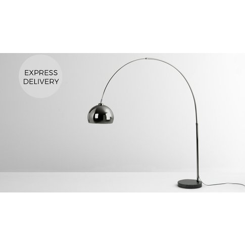 Bow Large Floor Lamp, Black Nickle And Marble